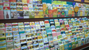 Greeting cards  selling at  store Stock Photography