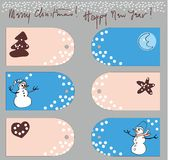 Greeting cards set. Mary christmas with hand drawn snowman and ginger bred and moon stock illustration