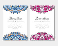 Greeting cards set with colorful mandala pattern. East Indian style. Beautiful background for card, party or event invitation, flyer, birthday, mother's day Stock Photo