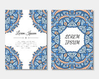 Greeting cards set with colorful mandala pattern. East Indian style. Beautiful background for card, party or event invitation, flyer, birthday, mother's day Royalty Free Stock Photography