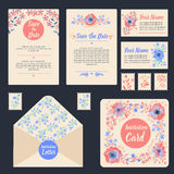 Greeting Cards Set with Flowers. Stationary for Wedding Royalty Free Stock Image
