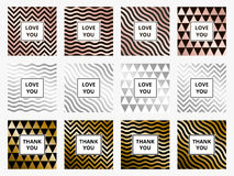 Greeting cards set geometric rose gold and silver background vector Stock Images