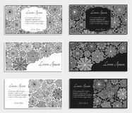Greeting cards or templates with stylized flowers Royalty Free Stock Images