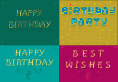 Greeting cards with text Happy Birthday Royalty Free Stock Images