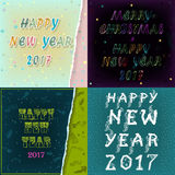 Greeting cards with texts Happy New Year 2017 Stock Photo