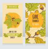 Greeting cards for thanksgiving day Stock Images