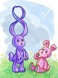 Greeting cards with two cartoony rabbits and figur. Greeting cards for International Women's Day (or may be al so for 8-th birthday&#x29 stock illustration