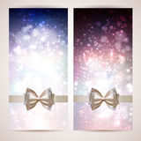 Greeting cards. Two Christmas greeting cards with bow Royalty Free Stock Image