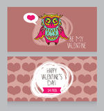Greeting cards for for Valentine's Day with cute lovely owl Stock Photos