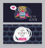 Greeting cards for for Valentine's Day with cute lovely owl Royalty Free Stock Photos