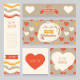 Greeting cards for valentine's day. Invitation for valentine's day party, cute hand drawn design, vector illustration Stock Images