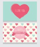 Greeting cards for valentine's day. Invitation for valentine's day party, cute hand drawn design, vector illustration Stock Image