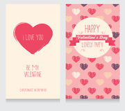 Greeting cards for valentine's day. Invitation for valentine's day party, cute hand drawn design, vector illustration Stock Photos