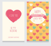 Greeting cards for valentine's day. Invitation for valentine's day party, cute hand drawn design, vector illustration Royalty Free Stock Image