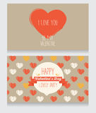 Greeting cards for valentine's day. Invitation for valentine's day party, cute hand drawn design, vector illustration Royalty Free Stock Photography