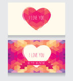 Greeting cards for valentine's day. Invitation for valentine's day party, cute hand drawn and geometric design, vector illustration Royalty Free Stock Image