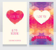 Greeting cards for valentine's day. Invitation for valentine's day party, cute hand drawn and geometric design, vector illustration Royalty Free Stock Photo
