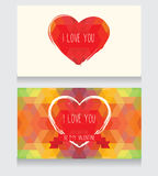 Greeting cards for valentine's day. Invitation for valentine's day party, cute hand drawn and geometric design, vector illustration Stock Photos