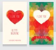 Greeting cards for valentine's day. Invitation for valentine's day party, cute hand drawn and geometric design, vector illustration Stock Photo