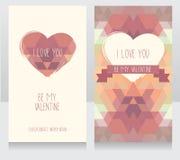 Greeting cards for valentine's day. Invitation for valentine's day party, cute hand drawn and geometric design, vector illustration Stock Image