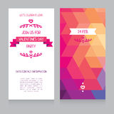 Greeting cards for valentine's day. Invitation for valentine's day party, cute hand drawn and geometric design, vector illustration Royalty Free Stock Photos