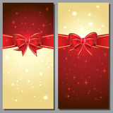 Greeting cards with white bows and copy space Royalty Free Stock Photo