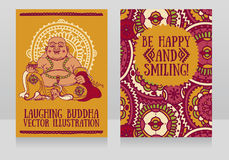 Greeting Cards With Laughing Buddha Stock Photos