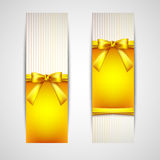 Greeting cards with yellow bows Royalty Free Stock Photography