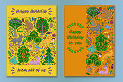 Greeting cardwith Wonderland Fun Forest Royalty Free Stock Photography