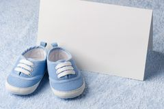 Greeting children form with booties Stock Photos