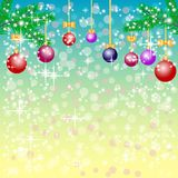 Greeting christmas background with balls in blue ang yellow colors Royalty Free Stock Photography