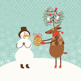 Greeting Christmas card royalty free illustration