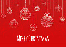 Greeting Christmas card with balls decorated doodle pattern Stock Photos