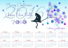Greeting christmas card with calendar for 2016 and monkey on winter tree branch Stock Photos