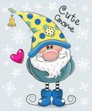 Cartoon Gnome on a blue background stock illustration