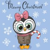 Greeting Christmas card Cartoon Penguin girl on a blue background royalty free illustration