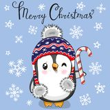 Greeting Christmas card Cartoon Penguin in a hat on a blue background vector illustration