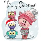 Greeting Christmas card Cute Pig and three Owls vector illustration