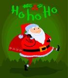 Greeting Christmas card with cute cartoon  Santa Claus Stock Photo