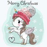 Cute Cartoon Unicorn in a hat. Greeting Christmas card Cute Cartoon Unicorn in a hat Stock Photos