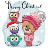 Greeting Christmas card Cute Teddy Bear and three Owls royalty free illustration