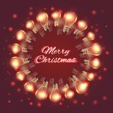 Greeting Christmas card with festive garlands of light bulbs. Round frame made of light bulbs. Vector card for your creativity Stock Photos