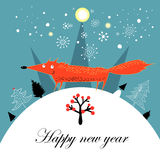 Greeting Christmas card with a fox Stock Photos