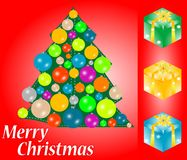 Greeting christmas card with gift box and space Royalty Free Stock Photos