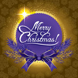 Greeting Christmas card Golden color. Greeting Christmas card with fir branches and purple bow Royalty Free Stock Photos