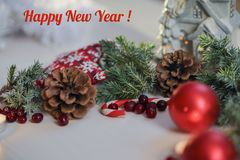 Greeting Christmas card with the inscription in a frame,photo Stock Photography