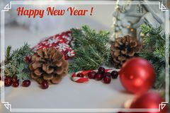 Greeting Christmas card with the inscription in a frame,photo Stock Image