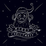 Greeting Christmas Card With Monkey In Santa`s Hat. Hand Draw Royalty Free Stock Photo