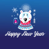 Greeting Christmas card with a picture of the bear Stock Photography