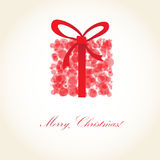 Greeting christmas card with present box Stock Images